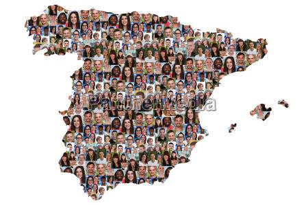 espanha jovens cartao multicultural grupo de