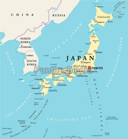 mapa politico do japao