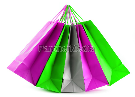 colorful paper shopping bags isolated on