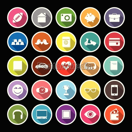 personal data flat icons with long