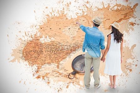 imagem composta de feliz moderno casal