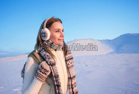 happy female on winter holidays