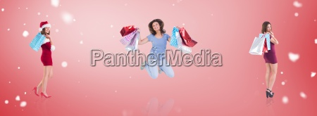 composite image of pretty woman holding