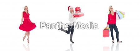 composite image of happy blonde holding