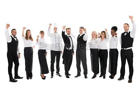 retrato da equipe de funcionarios feliz