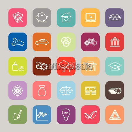 sufficient economy line flat icons