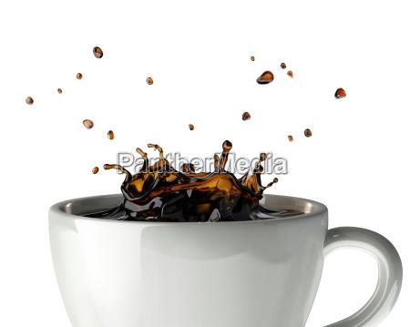 cafe respingo coroa na caneca feche