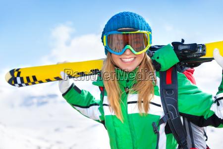 happy skier woman