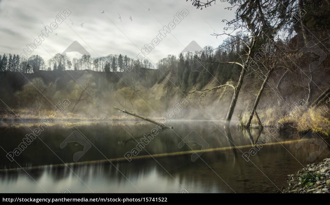paisagem, mística, na, água - 15741522