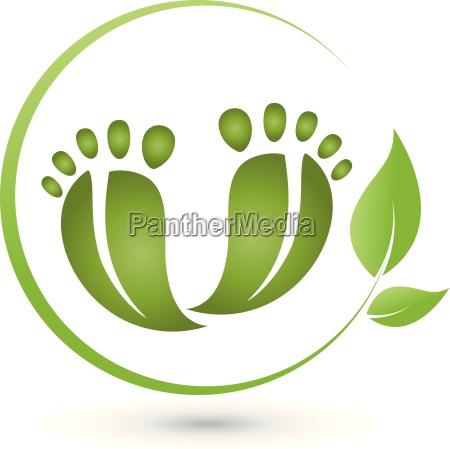 dois, pés, e, folhas, logotipo, cuidados, com, os - 15767788