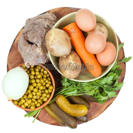 vista superior dos ingredientes para cozinhar