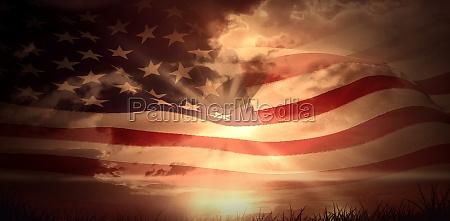 campo nascer do sol eua bandeira