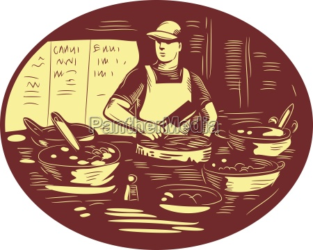 taco cook in food stall retro