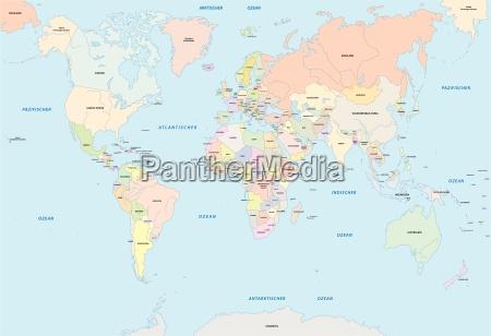 mapa de mundo na lingua alemao