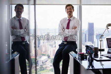 portrait of white collar worker smiling