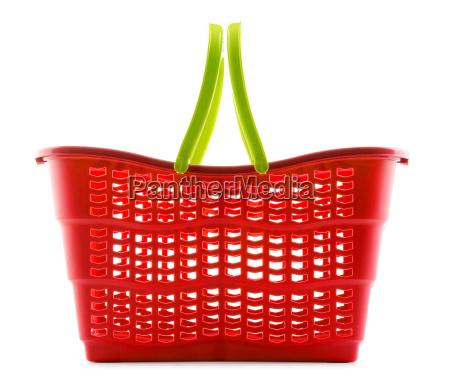 empty plastic shopping basket isolated on
