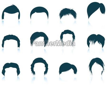 conjunto de icones dos penteados do