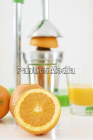 fazendo suco de laranja fresco