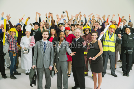 portrait of enthusiastic workforce