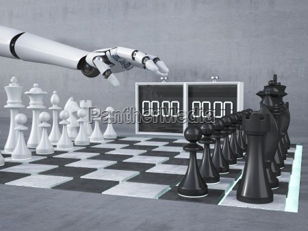 mao robo jogando xadrez comecando relogio