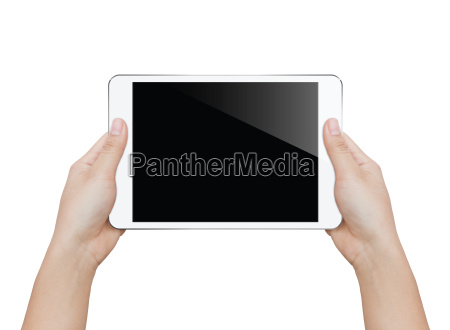 closeup woman hand holding white tablet
