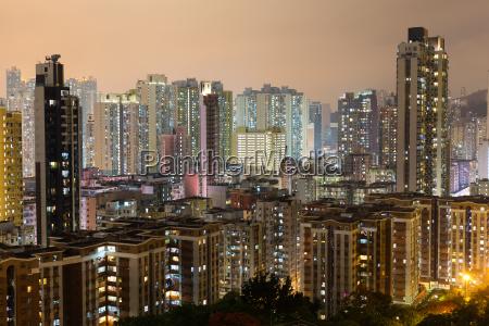 cidade, de, hong, kong, na, noite - 17598808