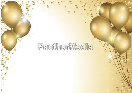 baloes de ouro e confetes de