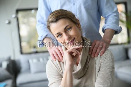 portrait of mature woman husbands hands
