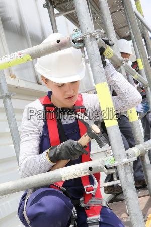 young woman in professional training working