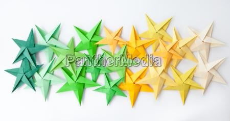 estrelas coloridas do origami