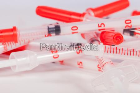 closeup hospital drogas plastico esteril pistao