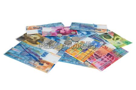 liberado prata moedas isolado suico moedas