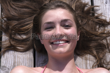 portrait of happy teenage girl