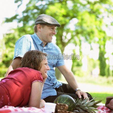couple having picnic together