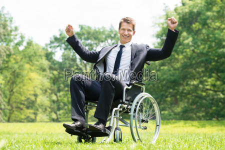 disabled man on wheelchair with raised