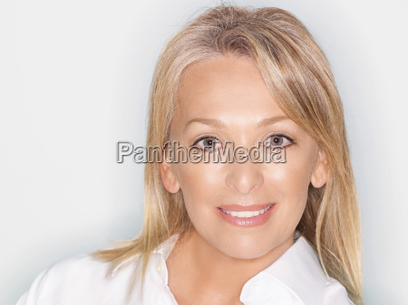 beauty portrait of middle aged woman