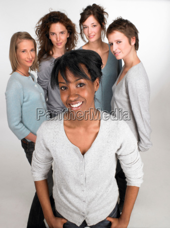 portrait of a woman group behind
