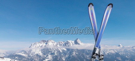 skis in snow on top of
