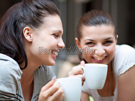 young women having coffee