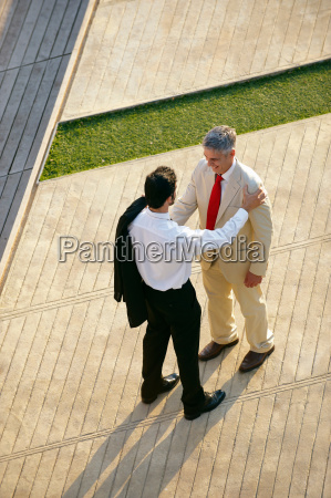 two business men seen from above
