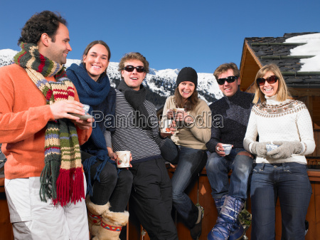 group of friends on terrace at