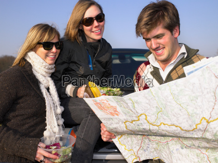 group looking at map at rest