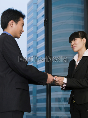 business people with business card