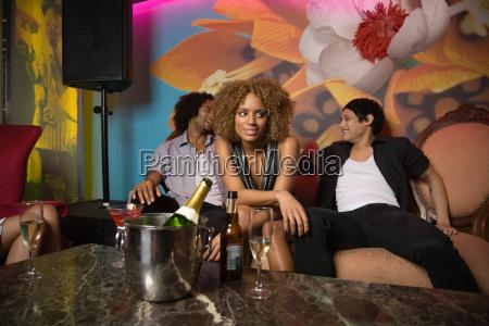 portrait of friends in a nightclub