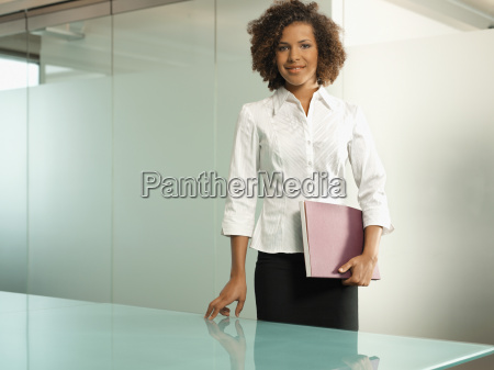 businesswoman holding a folder