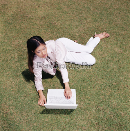businesswoman working in field