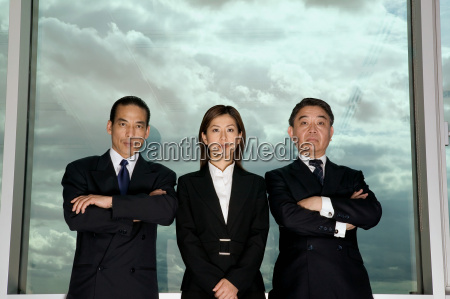 businesspeople and cloudy sky