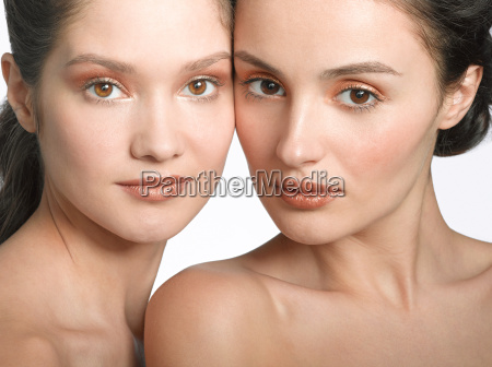 portrait of two young women side