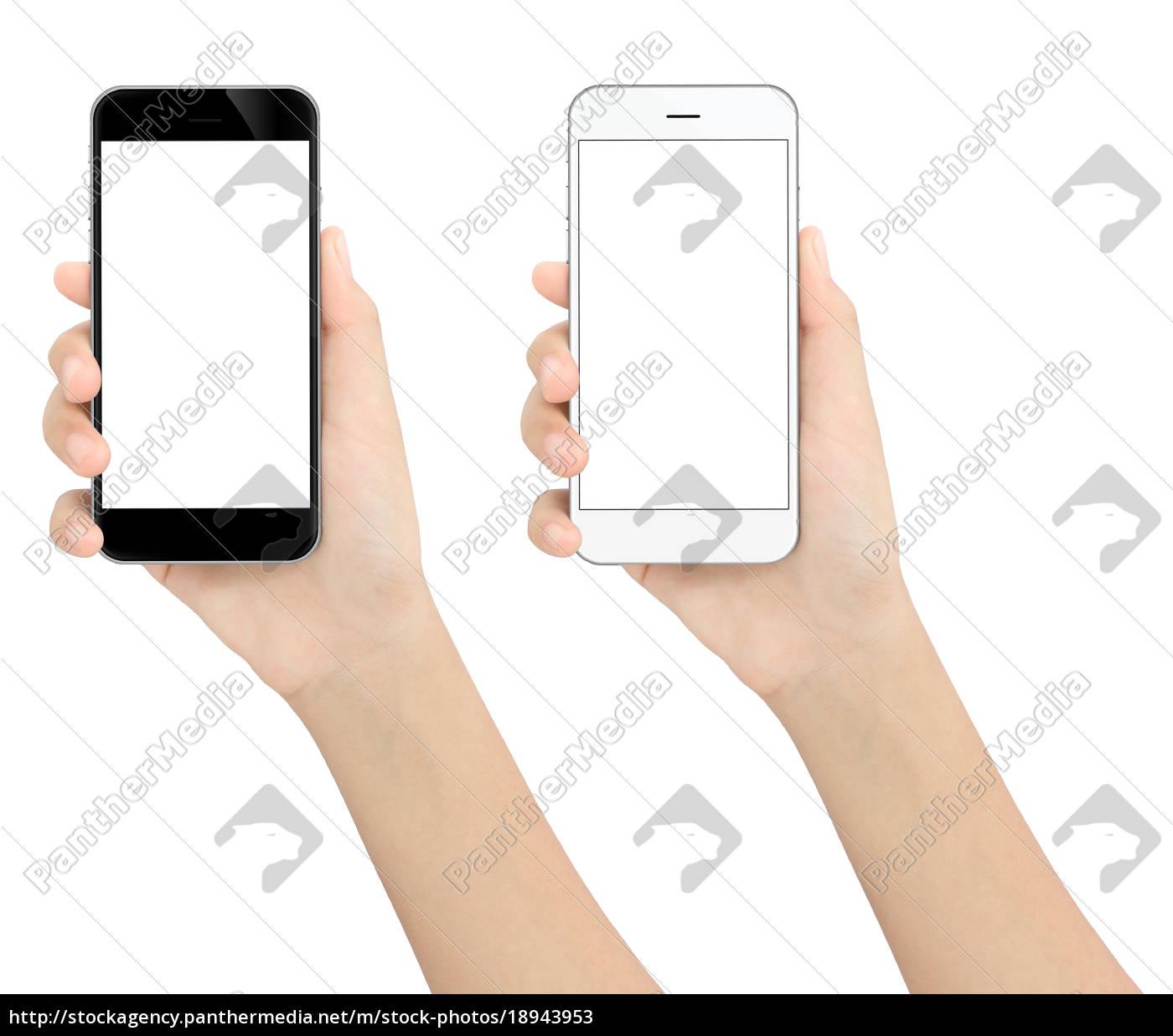 mão, que, prende, o, telefone, preto - 18943953