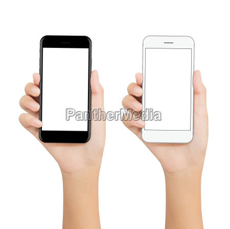 women hold phone showing blank screen